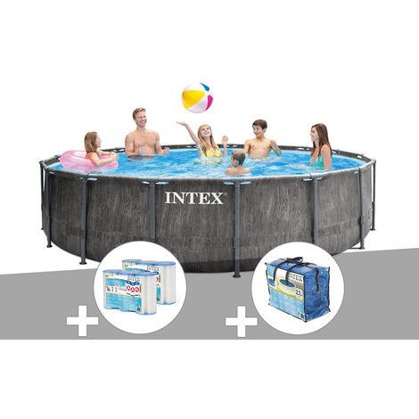 Kit piscine tubulaire Intex Baltik ronde 4,57 x 1,22 m + 6 cartouches de filtration + Bâche à bulles