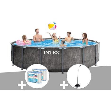 Kit piscine tubulaire Intex Baltik ronde 4,57 x 1,22 m + 6 cartouches de filtration + Douche solaire