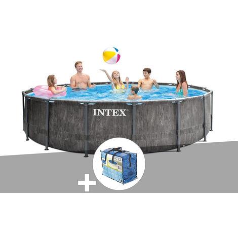 Kit piscine tubulaire Intex Baltik ronde 4,57 x 1,22 m + Bâche à bulles