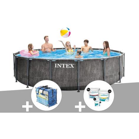 Kit piscine tubulaire Intex Baltik ronde 4,57 x 1,22 m + Bâche à bulles + Kit de traitement au chlore