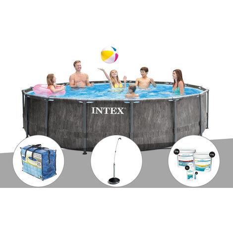 Kit piscine tubulaire Intex Baltik ronde 4,57 x 1,22 m + Bâche à bulles + Douche solaire + Kit de traitement au chlore