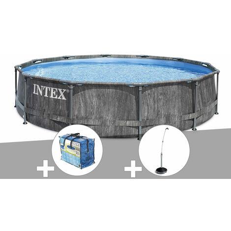 Kit piscine tubulaire Intex Baltik ronde 5,49 x 1,22 m + Bâche à bulles + Douche solaire