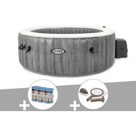 Kit spa gonflable Intex PureSpa Baltik rond Bulles 4 places + 6 filtres + Kit d'entretien