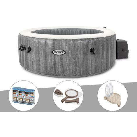 Kit spa gonflable Intex PureSpa Baltik rond Bulles 4 places + 6 filtres + Kit d'entretien + Porte-verre
