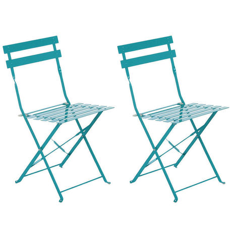 Lot de 2 Chaises de jardin métal pliante Camargue Lagon Hesperide