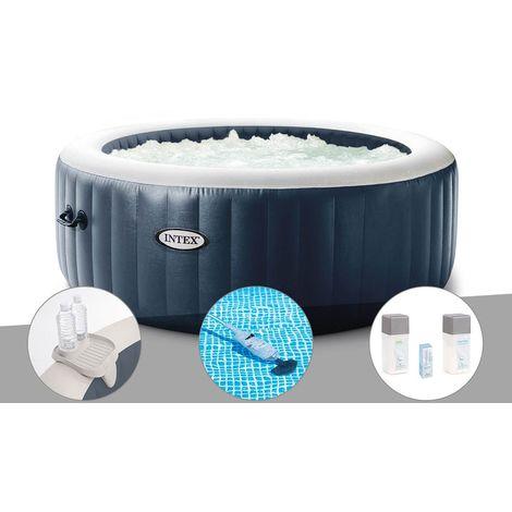 Kit spa gonflable Intex PureSpa Blue Navy rond Bulles 4 places + Porte-verre + Aspirateur + Kit traitement brome