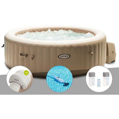 Kit spa gonflable Intex PureSpa Sahara rond Bulles 6 places + 2 appuie-têtes + Aspirateur + Kit traitement brome