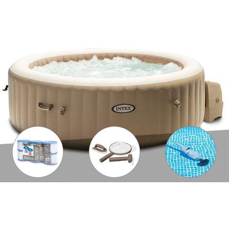 Kit spa gonflable Intex PureSpa Sahara rond Bulles 6 places + 6 filtres + Kit d'entretien + Aspirateur