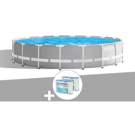 Kit piscine tubulaire Intex Prism Frame ronde 5,49 x 1,22 m + 6 cartouches de filtration