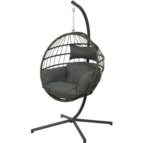 Chaise suspendue en corde Palanga Noir - Jardideco