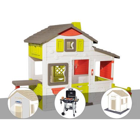 Cabane enfant Smoby Neo Friends House + Lampe solaire + Barbecue / Plancha + 3 Sets de 6 dalles