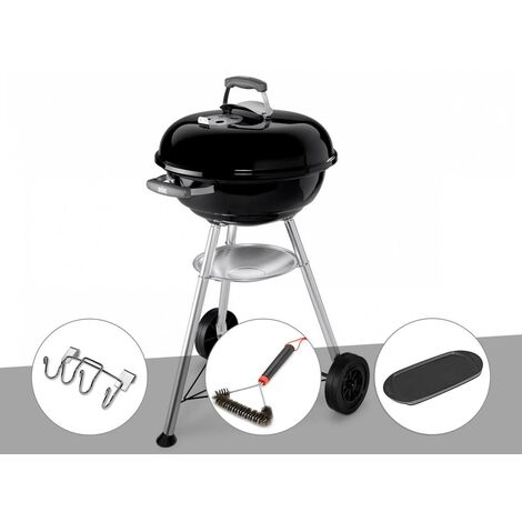 Barbecue Weber Compact Kettle 47 cm + Support accessoires + Brosse + Plancha
