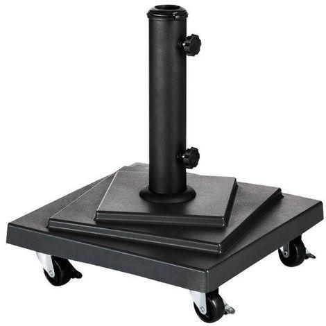 Pied de parasol carré sur roues 15 kg Noir