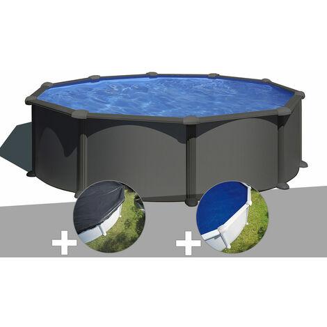 Kit piscine acier gris anthracite Gré Juni ronde 4,80 x 1,32 m + Bâche d'hivernage + Bâche à bulles