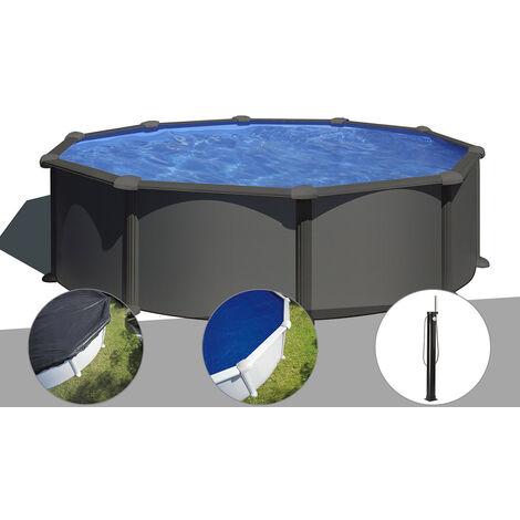 Kit piscine acier gris anthracite Gré Juni ronde 4,80 x 1,32 m + Bâche d'hivernage + Bâche à bulles + Douche
