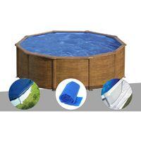 Kit piscine acier aspect bois Gré Sicilia ronde 4,80 x 1,22 m + Bâche hiver + Bâche à bulles + Tapis de sol
