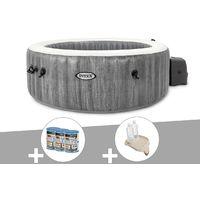 Kit spa gonflable Intex PureSpa Baltik rond Bulles 4 places + 6 filtres + Porte-verre