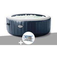 Kit spa gonflable Intex PureSpa Blue Navy rond Bulles 4 places + 6 filtres