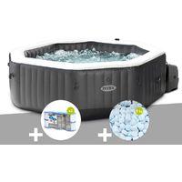 Kit spa gonflable Intex PureSpa Carbone octogonal Bulles et Jets 4 places + 12 filtres + 5 kg de sel