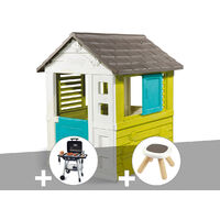 Cabane enfant Pretty - Smoby + Barbecue / Plancha + Tabouret