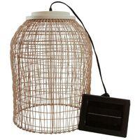 Suspension solaire bohème naturel style vannerie tressée LED blanc chaud KO SAMUY H 46 cm