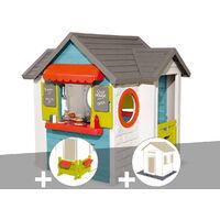 Cabane enfant Smoby Chef House + Espace jardin + 2 Sets de 6 dalles