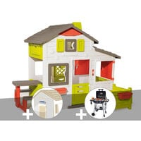 Cabane enfant Smoby Neo Friends House + Lampe solaire + Barbecue / Plancha