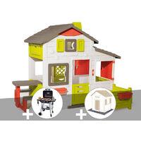 Cabane enfant Smoby Neo Friends House + Barbecue / Plancha + 3 Sets de 6 dalles