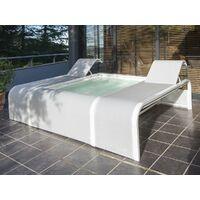 Piscine aluminium blanc Mariposa rectangulaire avec 2 transats intégrés - Gré