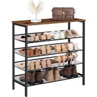 Shoe Rack, 5-Tier Shoe Organizer Shelf, 75 x 30 x 85.1 cm, with Flat & Slant Adjustable Shelf, Sturdy and Stable, Shoe Storage Organiser for Entryway, Hallway, Dorm Room, Industrial, HOOBRO EBF01XJ01 - Rustic Brown