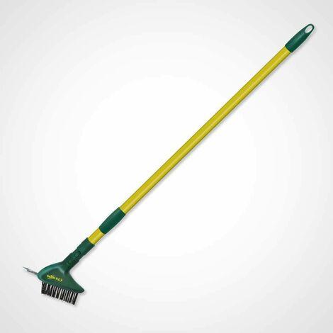 Brosse à joints de dallage GARDIREX, avec crochet grattoir, manche télescopique, pour désincruster sans effort, sans s'abaisser - Vert - Vert