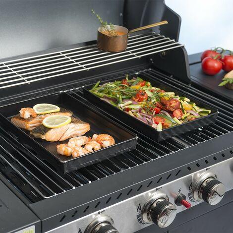Durandal Plaque barbecue 1.5 Litres   Plat cuisson barbecue   Plaque four pour barbecue   Plaque de cuisson four et barbecue - Noir - Noir