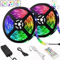 Ruban LED,10M Bande LED 300 LEDs 5050 RGB Étanche,Contrôlé par APP du Smartphone, Synchroniser avec Rythme de Musique/Fonction de Minuterie
