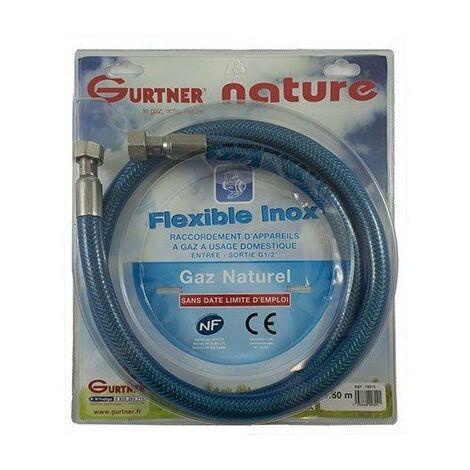 Flexible INOX - Gaz naturel - Ecrou G1/2 - 1m