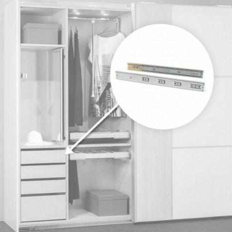 Paire de coulisses pour tiroirs - à billes - 45 x 450 mm - Fermeture amortie - Zingué