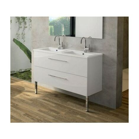 Meuble sous-plan Media - 2 tiroirs -salle de bain - 120cm - Chêne Nebraska Naturel