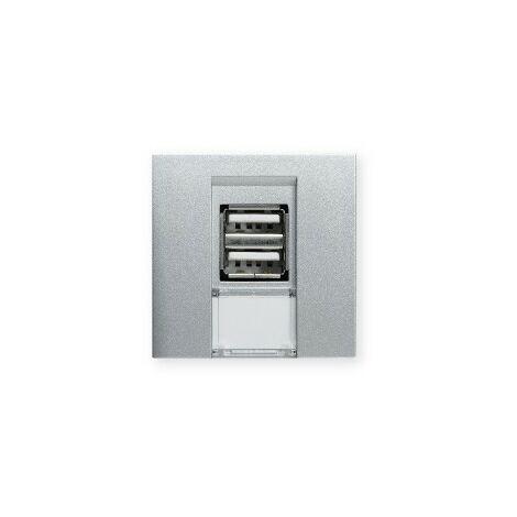 Prise double USB TerCia AP-C45 - Pour goulottes - Aluminium
