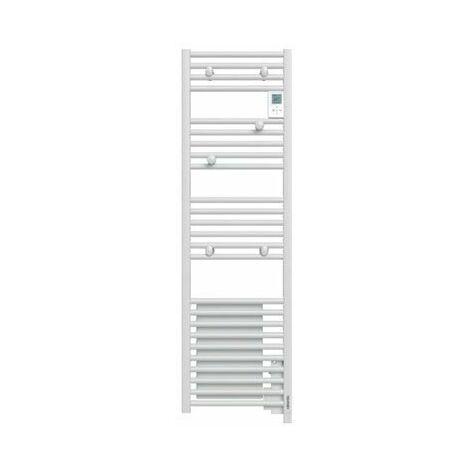 Sèche-serviettes électrique Doris - 500+1000W - Blanc brillant - Étroit - Avec soufflerie