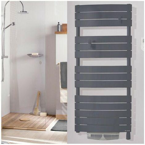 Radiateur sèche-serviettes - Riviera Digital - 500 +1000W - Avec soufflerie - Gris menhir