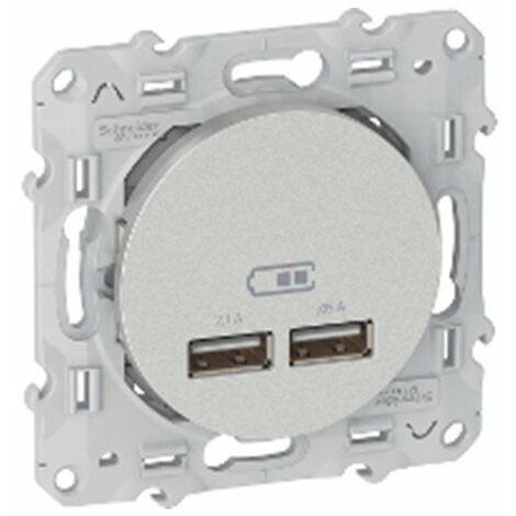 Prise encastrée - Odace - Chargeur double USB 2.1 - Aluminium