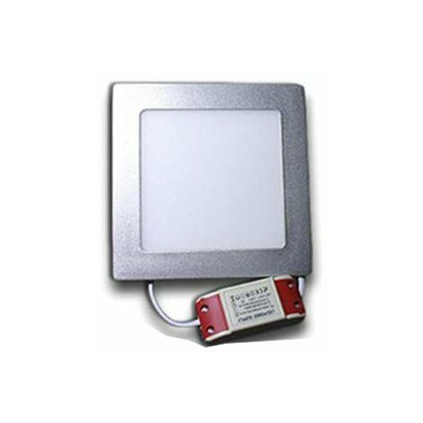 Downlight LED cuadrado 12W Aro Plata   Blanco Cálido 3000K