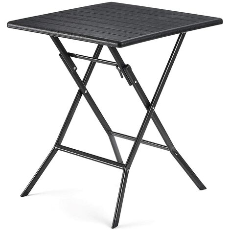 Klapptisch, kleiner Gartentisch mit imitierter Holzmaserung aus Kunststoff, wasserfest, stabile Standbeine aus Eisen, Huf-artige Standfüße, Sicherheitsriegel, 62 x 62 x 73cm, Schwarz GPT04BK - Schwarz