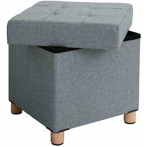 nobrand Pouf Hocker mit Stauraum Sitzhocker Sofa Couch Puff Hocker Fu/ßbank aus Leinen und Massivholz Sitzbank Aufbewahrungsbox mit Deckel Dunkelgrau