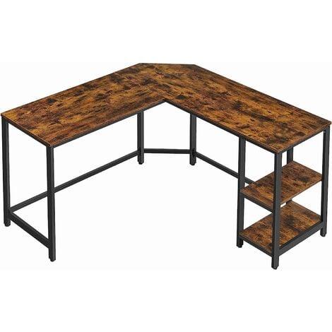 VASAGLE Schreibtisch 2 Ablagen Holzoptik Metallgestell 138 x 138 x 75 cm einfacher Aufbau Computertisch Eckschreibtisch Vintage von SONGMICS LWD72X - Vintage