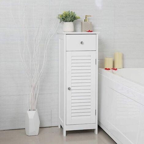 VASAGLE Badezimmerschrank Badschrank Nachttisch Regal Aufbewahrung für Badezimmer aus Holz mit Schublade Lamellentür Weiß 32 x 87 x 30cm by SONGMICS BBC43WT - Weiß