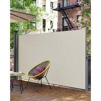 Seitenmarkise, ausziehbar, 1,6 x 3,5 m (H x L), für Balkon, Terrasse und Garten, mit Bodenhalterung, Sichtschutz, Sonnenschutz, Seitenrollo, beige GSA165E - Beige