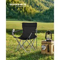 Outdoor Stuhl komfortabel SONGMICS Campingstuhl Robustes Gestell klappbar bis 250 kg belastbar Klappstuhl mit hoher R/ückenlehne mit Flaschenhalter und K/ühltasche