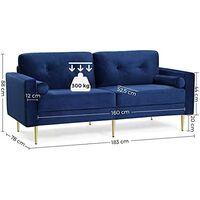 VASAGLE 3-Sitzer Sofa, Couch für Wohnzimmer, Bezug aus Samt, für Wohnungen, kleinen Raum, Holzgestell, Metallbeine, einfacher Aufbau, modernes Design, 190 x 82 x 84 cm, blau  von SONGMICS  LCS001Q01 - Blau