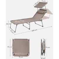 Gartenliege, Sonnenliege Liegestuhl extra groß 71 x 200 x 38 cm verstellbar Garten taupe GCB022K01 - Taupe