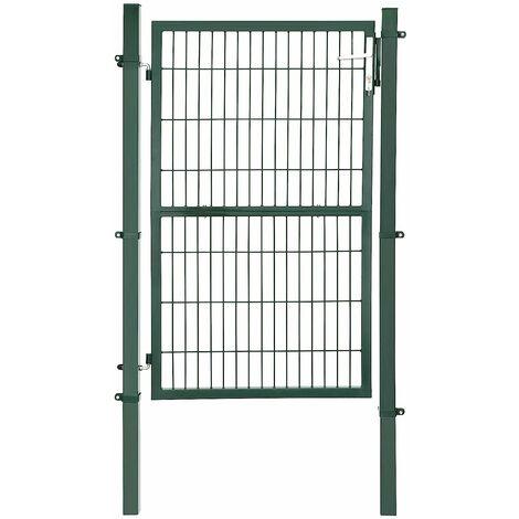 Portail de Jardin en Acier galvanisé Robuste et Durable avec Serrure et clé Vert 150 x 106 cm GGD200L - Vert